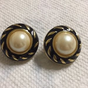 Simulated Pearl Clip Earrings